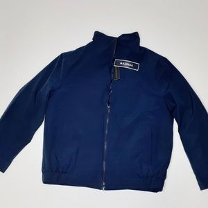 NWT HAGGAR Navy Waterproof Insulated Zip Jacket M